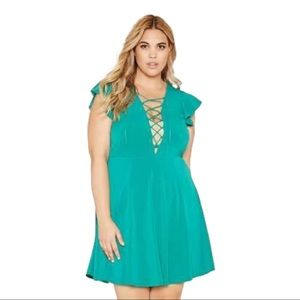 FOREVER 21 Green Flutter Sleeve Lace Up Midi Dress